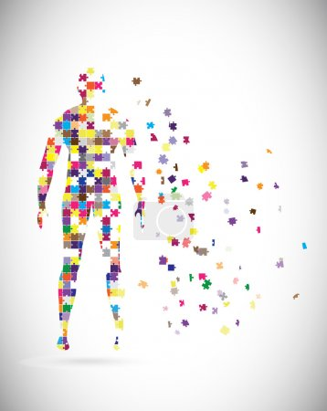 Illustration for Abstract male body built of puzzle pieces - Royalty Free Image