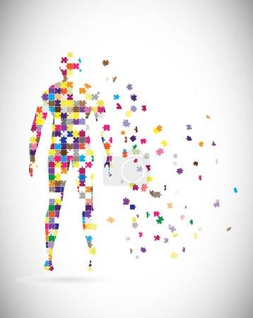 Illustration pour Corps de l'homme abstrait construit des pièces du puzzle - image libre de droit