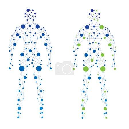 Illustration pour Modèle abstrait de l'homme des particules. Vecteur - image libre de droit
