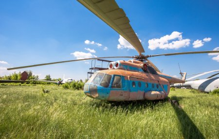 The russian transport helicopter Mi-6 at an abandoned aerodrome