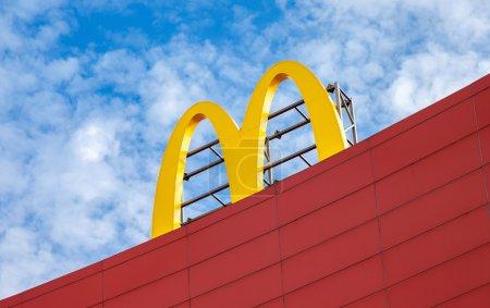 McDonalds logo against the blue
