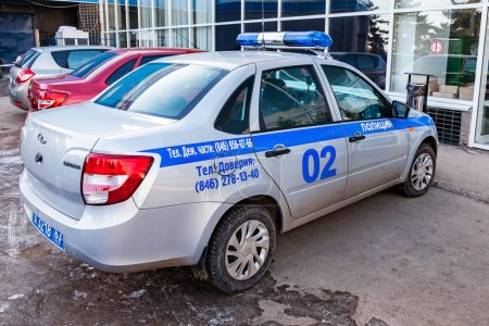 Russian patrol car of the State Automobile Inspectorate