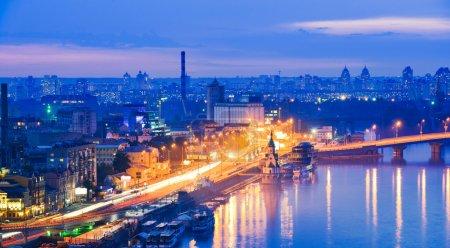 Night panorama of Kiev.