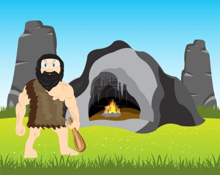 Illustration for The Cave person with bat beside its vein.Vector illustration - Royalty Free Image