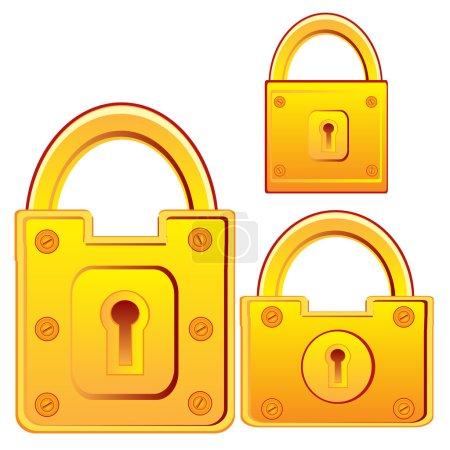Illustration pour Verrouillage vectoriel pour porte dorée sur fond blanc - image libre de droit