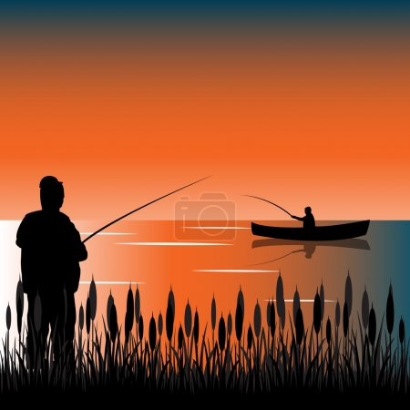 The Taps on lake with bulrush.Vector illustration...