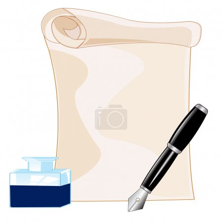 Paper and feather with ink on white background is ...