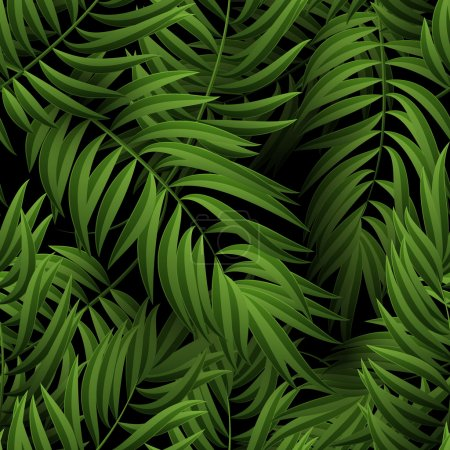 Photo for Seamless tropical jungle floral pattern with palm fronds. illustration. Green Palm leaves pattern on black background - Royalty Free Image