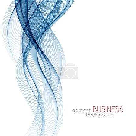 Photo pour Fond abstrait, lignes ondulées transparentes bleues pour brochure, site web, design de flyer. Onde de fumée bleue. fond bleu ondulé - image libre de droit