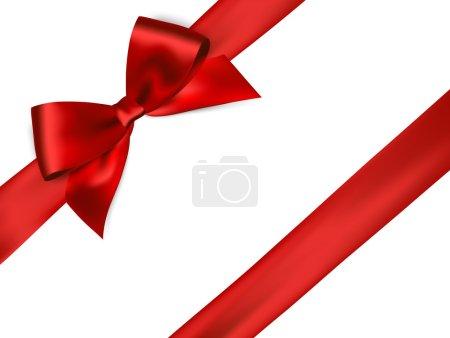 Photo pour Ruban de satin rouge brillant sur fond blanc. arc rouge. Arc rouge et ruban rouge - image libre de droit