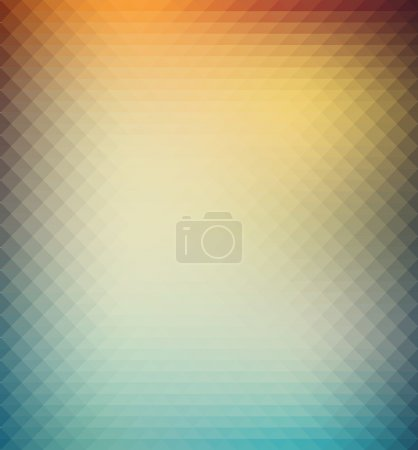 Abstract geometric background with orange, blue and yellow triangles. Summer sunny design.