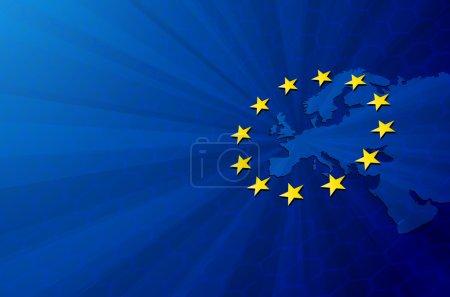 Europe map and European union flag