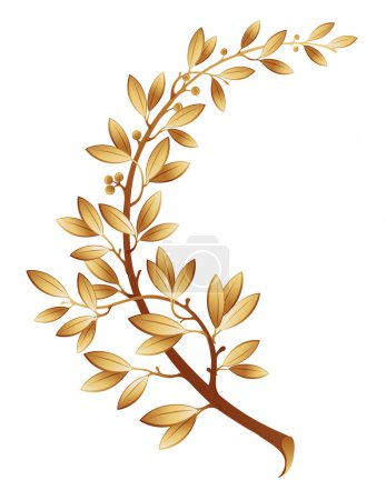 Illustration for The vector illustration contains the image of gold laurel branch - Royalty Free Image