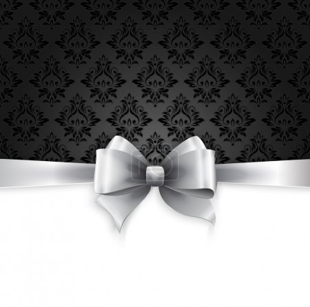 Illustration for Vector Invitation card with Silver holiday ribbon on vintage background - Royalty Free Image