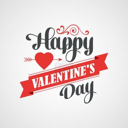Illustration pour Happy Valentines Day Hand Lettering Card - Arrière-plan typographique avec ornements, coeurs, ruban et flèche - image libre de droit