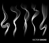 Set of Vector realistic smoke on black background