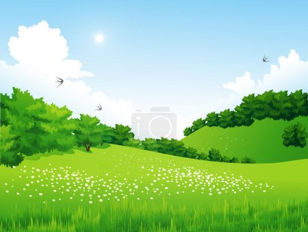 Green Landscape with trees, clouds, flowers