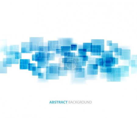 Illustration for Blue shiny squares shapes technical background. Vector technology design - Royalty Free Image