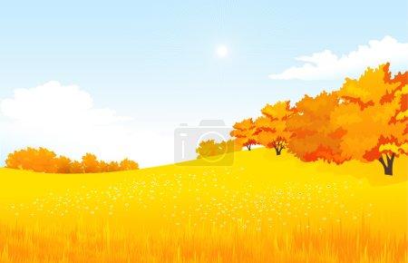 Illustration pour Illustration vectorielle automne paysage rural avec prairie et forêt - image libre de droit