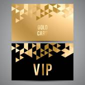 VIP cards Black and golden design Triangle decorative patterns