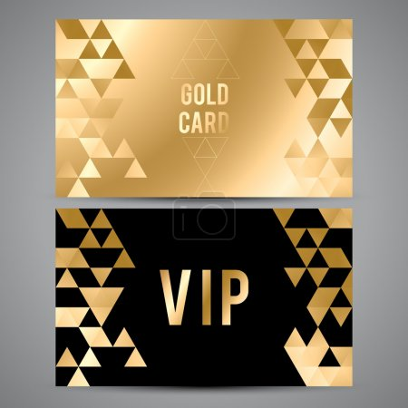 VIP cards. Black and golden design. Triangle decorative patterns.