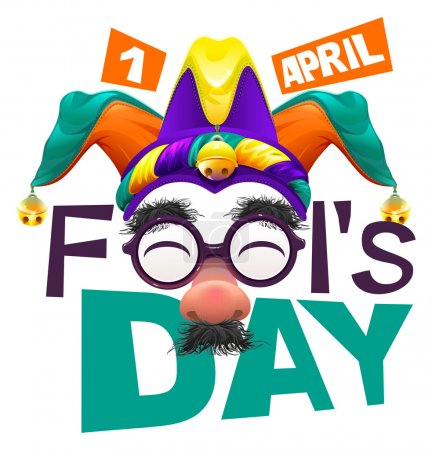 Illustration for Funny glasses nose. April Fools Day lettering text for greeting card. 1 April Fools Day. Isolated on white vector illustration - Royalty Free Image