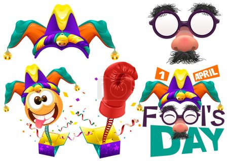Illustration for Fools cap smile on spring. Funny glasses nose. April Fools Day lettering text for greeting card. 1 April Fools Day. Isolated on white vector illustration - Royalty Free Image