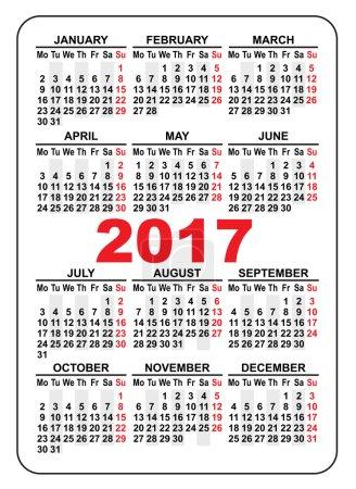 Pocket calendar 2017. First day Monday