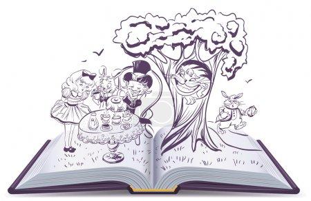 Alice in Wonderland. Girl and rabbit drinks tea