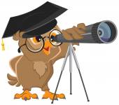 Owl astronomer looking through a telescope Vector cartoon illustration