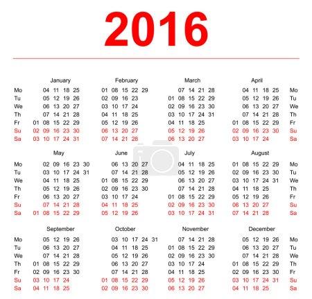 2016 Calendar template. Vertical weeks. First day Monday