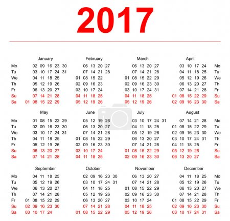 2017 Calendar template. Vertical weeks. First day Monday