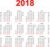 2018 Calendar template Vertical weeks First day Monday