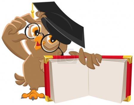 Illustration for Owl holding open book. Illustration in vector format - Royalty Free Image