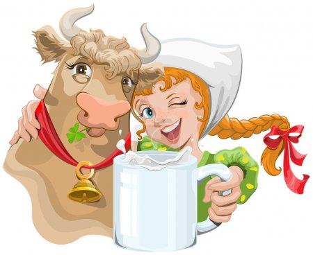 Girl hugging a cow and a farmer holding a cup of milk
