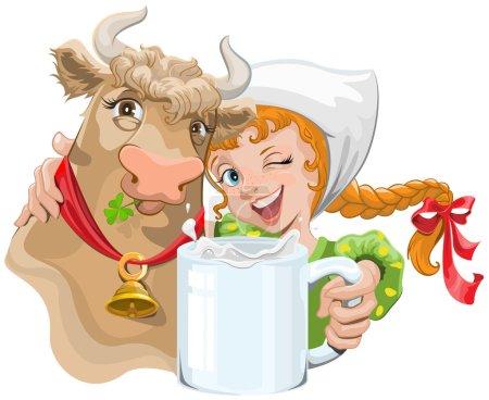 Illustration pour Une fille étreignant une vache et un fermier tenant une tasse de lait. Illustration en format vectoriel - image libre de droit