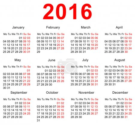2016 Calendar template. Horizontal weeks. First day Monday