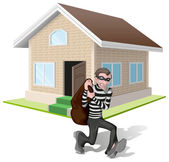 Robber in mask carries bag Thief robs house Property insurance