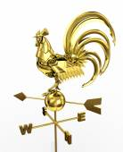 Golden weather vane, wind direction pointer. Robot-rooster. Symb