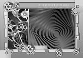 Abstract background metallic chrome silver with gears, vector.