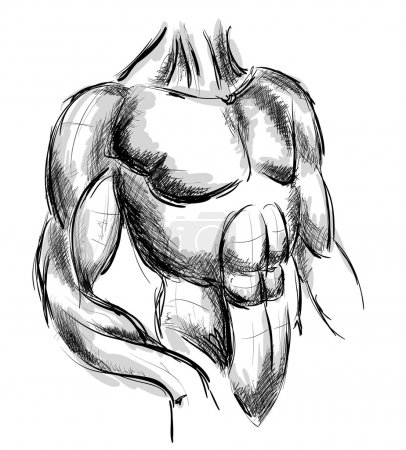 Sketch of strong man.