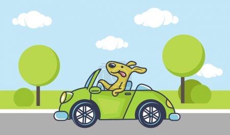 Illustration for Cute dog driving green car, vector illustration - Royalty Free Image