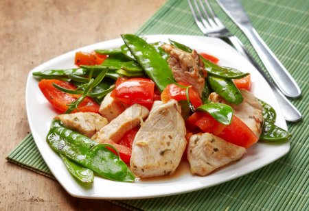 Plate of chicken meat and vegetables