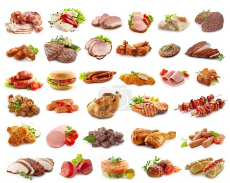Photo for Various kinds of meat products isolated on white - Royalty Free Image