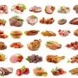 Various kinds of meat products isolated on white...
