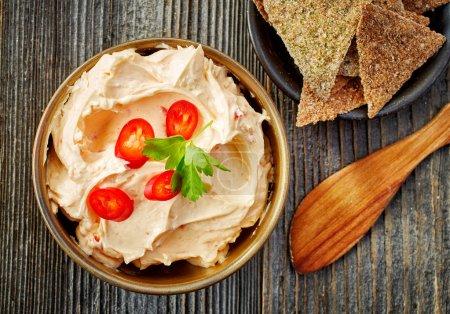 Cream cheese with chili and tomato, dip sauce