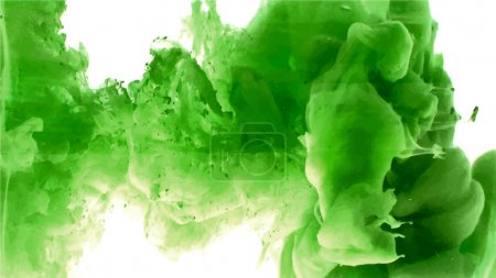 Illustration for Green cloud of ink swirling in water. Abstract background - Royalty Free Image