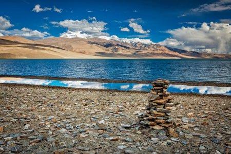 Stone cairn at Himalayan lake Tso Moriri