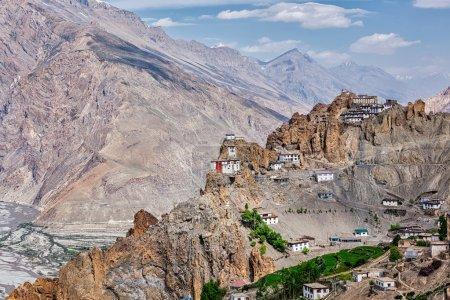 Photo for Dhankar gompa Buddhist monastery on cliff and Dhankar village in Himalayas, Dhankar, Spiti valley, Himachal Pradesh, India - Royalty Free Image