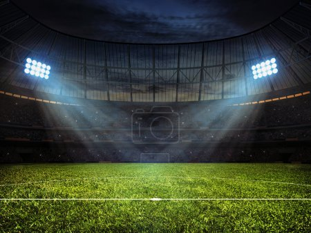 Photo for Sport concept background - soccer footbal stadium with floodlights. Grass football pitch with mark up and soccer goal with net - Royalty Free Image